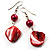 Coral Red Shell Bead Drop Earrings (Silver Tone) - view 4