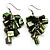Olive Green Shell Composite Cluster Dangle Earrings (Silver Tone) - view 1