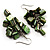 Olive Green Shell Composite Cluster Dangle Earrings (Silver Tone) - view 2