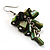 Olive Green Shell Composite Cluster Dangle Earrings (Silver Tone) - view 3