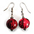 Coral & Black Animal Print Wood Drop Earrings (Silver Tone) - view 2