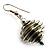 Silver Tone Olive Green Faux Pearl Drop Earrings