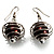 Silver Tone Chocolate Faux Pearl Drop Earrings