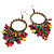 Bronze Tone Hoop Bead Earrings - 3cm Diameter (Multicoloured)