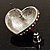 Heart Diamante Rose Stud Earrings (Silver Tone) - view 5