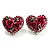 Heart Diamante Rose Stud Earrings (Silver Tone) - view 6