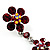 Long Statement Floral Dangle Earrings (Silver&Ruby Red) -7cm Drop - view 7