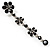 Long Statement Floral Dangle Earrings (Silver&Jet Black) -7cm Drop - view 5