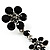 Long Statement Floral Dangle Earrings (Silver&Jet Black) -7cm Drop - view 6