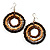 Multicoloured Wood Hoop Earrings - 4.5cm Diameter