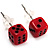 Tiny Red Plastic Dice Stud Earrings (Silver Tone) -5mm Diameter - view 1