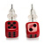Tiny Red Plastic Dice Stud Earrings (Silver Tone) -5mm Diameter - view 2