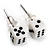 Tiny White Plastic Dice Stud Earrings (Silver Tone) -5mm Diameter