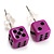 Tiny Purple Plastic Dice Stud Earrings (Silver Tone) -5mm Diameter