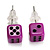 Tiny Purple Plastic Dice Stud Earrings (Silver Tone) -5mm Diameter - view 2