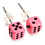 Tiny Bright Pink Plastic Dice Stud Earrings (Silver Tone) -5mm Diameter