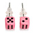 Tiny Bright Pink Plastic Dice Stud Earrings (Silver Tone) -5mm Diameter - view 2