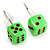 Tiny Bright Green Plastic Dice Stud Earrings (Silver Tone) -5mm Diameter - view 2