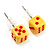 Tiny Yellow Plastic Dice Stud Earrings (Silver Tone) -5mm Diameter - view 1