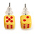 Tiny Yellow Plastic Dice Stud Earrings (Silver Tone) -5mm Diameter - view 2
