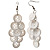 White Plastic Button Drop Earrings (Silver Tone) - 8cm Drop - view 2