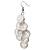 White Plastic Button Drop Earrings (Silver Tone) - 8cm Drop - view 3