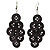 Black Plastic Button Drop Earrings (Silver Tone) - 8cm Drop - view 1