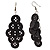 Black Plastic Button Drop Earrings (Silver Tone) - 8cm Drop - view 2