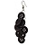 Black Plastic Button Drop Earrings (Silver Tone) - 8cm Drop - view 3