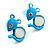 Tiny Diamante Mouse Enamel Stud Earrings (Light Blue & White) - view 2