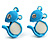 Tiny Diamante Mouse Enamel Stud Earrings (Light Blue & White)