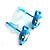 Tiny Diamante Mouse Enamel Stud Earrings (Light Blue & White) - view 3