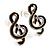 Small Black Diamante Treble Clef Stud Earrings - view 2