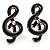 Small Black Diamante Treble Clef Stud Earrings
