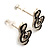 Small Black Diamante Treble Clef Stud Earrings - view 3