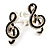 Small Black Diamante Treble Clef Stud Earrings - view 4