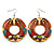Funky Fish Pattern Donut Wood Drop Earrings (Silver Tone) - 5cm Diameter - view 3