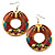 Funky Fish Pattern Donut Wood Drop Earrings (Silver Tone) - 5cm Diameter - view 1