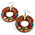Funky Fish Pattern Donut Wood Drop Earrings (Silver Tone) - 5cm Diameter - view 4