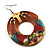 Funky Fish Pattern Donut Wood Drop Earrings (Silver Tone) - 5cm Diameter - view 2