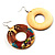 Funky Fish Pattern Donut Wood Drop Earrings (Silver Tone) - 5cm Diameter - view 5