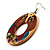 Funky Fish Pattern Donut Wood Drop Earrings (Silver Tone) - 5cm Diameter - view 6