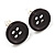 Small Black Plastic Button Stud Earrings (Silver Tone) -11mm Diameter