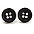 Small Black Plastic Button Stud Earrings (Silver Tone) -11mm Diameter - view 2