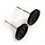 Small Black Plastic Button Stud Earrings (Silver Tone) -11mm Diameter - view 3