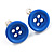 Small Light Blue Plastic Button Stud Earrings (Silver Tone) -11mm Diameter