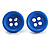 Small Light Blue Plastic Button Stud Earrings (Silver Tone) -11mm Diameter - view 2