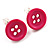 Small Magenta Plastic Button Stud Earrings (Silver Tone) -11mm Diameter