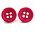 Small Magenta Plastic Button Stud Earrings (Silver Tone) -11mm Diameter - view 2