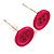 Small Magenta Plastic Button Stud Earrings (Silver Tone) -11mm Diameter - view 3